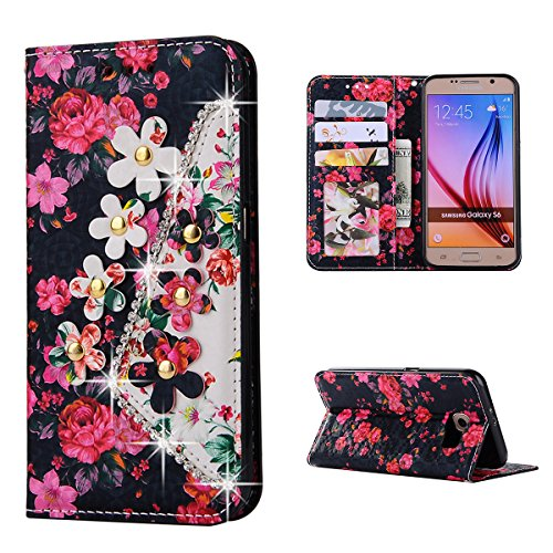 Flip Cover per Samsung Galaxy S6 G9200 Glitter Portafoglio, Moonmini® Custodia PU Pelle con 3D Bling, Stand, Slot & Chiusura Magnetica - Pattern 6 Pink Red White Gold Flower in Dark Blue