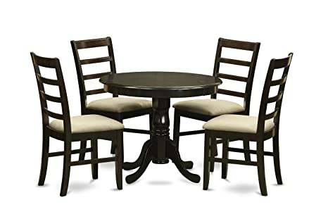 East West Furniture ANPF5-CAP-C 5-Piece Kitchen Table Set, Cappuccino Finish