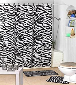 Amazon.com: Shower Curtain Kids Jungle Safari Black Zebra Design ...