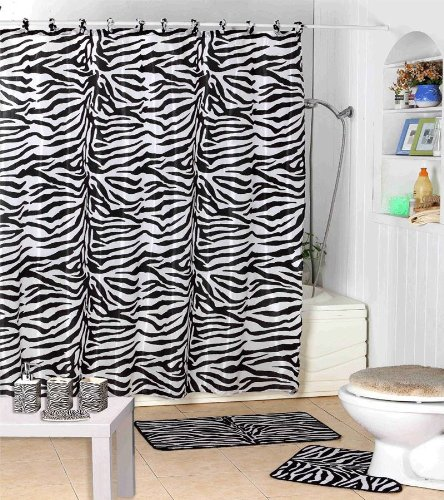 Shower Curtain Kids Jungle Safari Black Zebra Design with Decorative Roller Rings/hooks