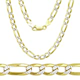 Two Tone 18k Gold Plated over .925 Italian Sterling Silver 4.5mm FLAT LONG FIGARO Diamond-Cut Link 16