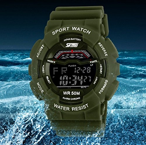 Skmei Unisex Military Sports Led Digital Multifunction Watch Green