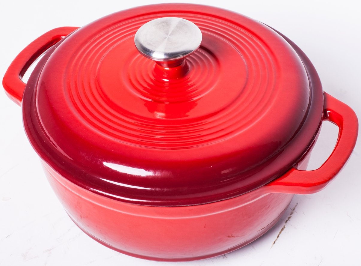 Enameled Cast Iron Dutch Oven - Red Color with Lid, 3.2-quart