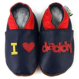 I Love Daddy Soft Sole Leather Baby Shoes Size: 6-12 Month