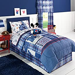 Disney Mickey Mouse Boys Twin Comforter, Sheets, Pillow Cases Bedding Set and Exclusive Linens N Beyond LED Simple Touch Key Chain