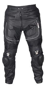 Hommes Pantalons moto en cuir avec du métal Sliders