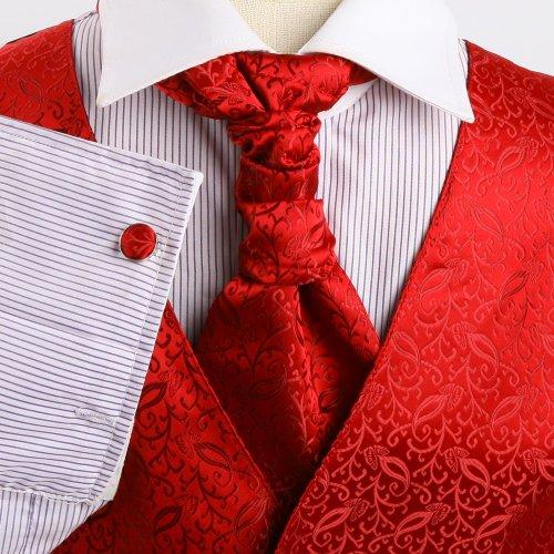 VS2029 Red Patterned Handmade Vests Cufflinks Hanky Ascot Ties By Y&G