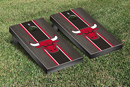 Chicago Bulls NBA Basketball Cornhole Game Set Onyx Stained Stripe Version (Chicago Bulls Corn Hole compare prices)