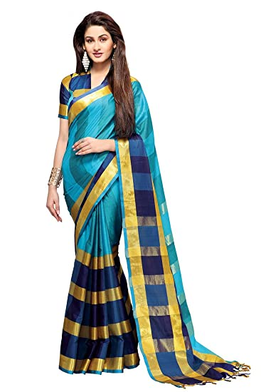 Ishin Cotton Blue Solid Saree available at Amazon for Rs.1499