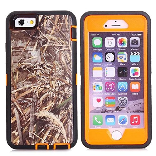For Iphone 6s Case - FiversTM Heavy Duty 3 in 1 Three Advantages Waterproof Dustproof Shakeproof with Forest Camouflage Desig Cell Phone Cases for Iphone 6s 47 Inch Grass- Orange