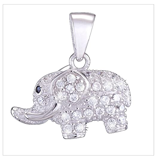 Silver Pendant, Zircon, Elephant by UK Gems