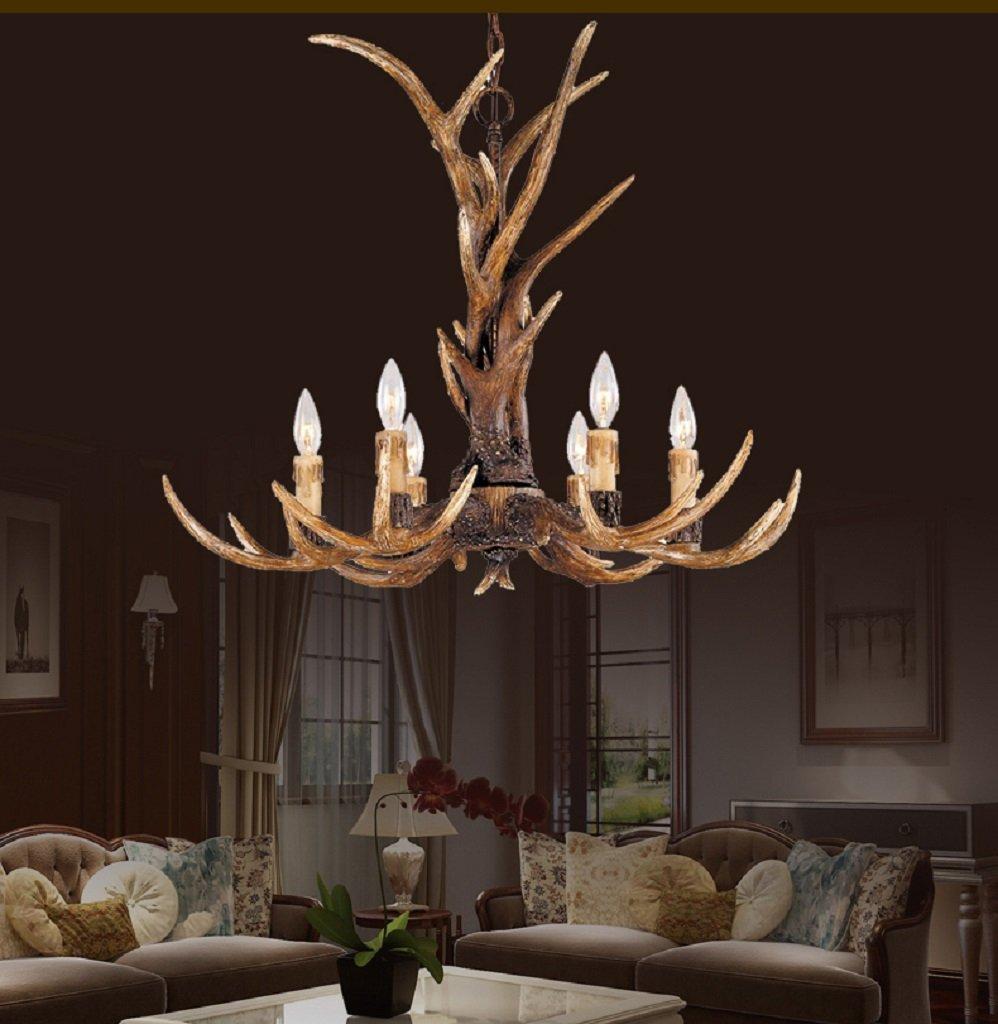 EFFORTINC Vintage Style Resin Antler Chandelier 6 Lights,Living room,Bar,Cafe, Dining room, Bedroom,Study,Villas,American Retro Deer Horn Pendant Lights 3