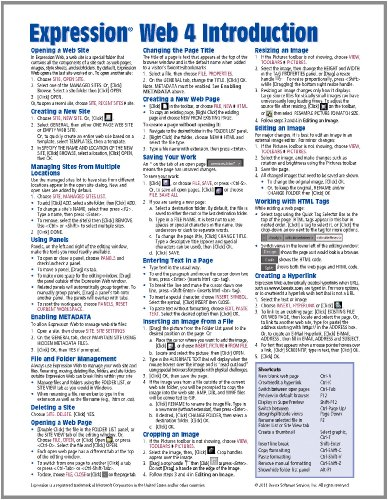 Expression Web 4 Introduction Quick Reference Guide (Cheat Sheet of Instructions, Tips & Shortcuts - Laminated Card)