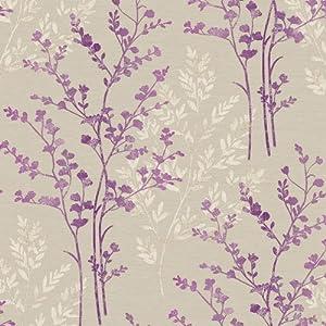 Plum purple cream beige 250403 fern motif for Purple kitchen wallpaper