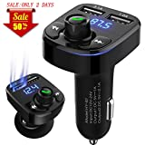 AIKESI FM Transmitter for Car Bluetooth Portable Wireless Radio Adapter&Mp3 Music Stereo Adapter Dual USB Ports Car Charger Quick Charge 3.0 Handsfree Call Car Charger for iPhone/Samsung/LG (Color: Black)