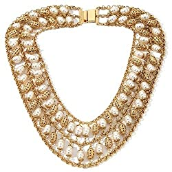 Princess Amanda Posh Romance Simulated Pearl Double Row Necklace