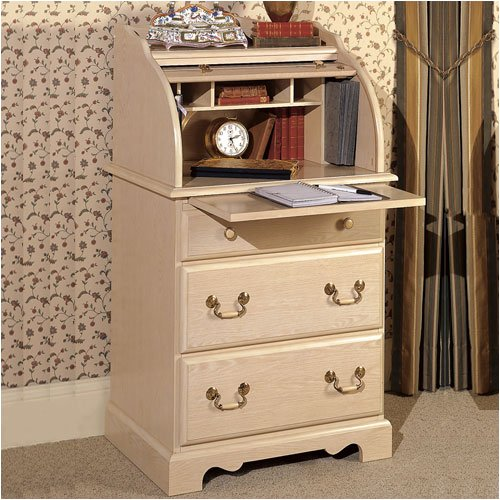 "Riverside Furniture 219 Homecraft 26"" W Space Saver Roll Top Desk in Washed White"