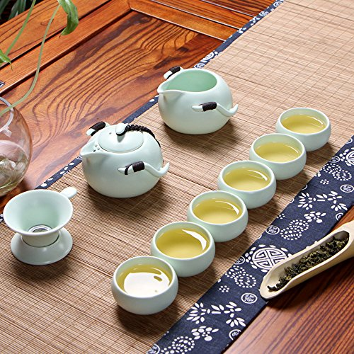 XDOBO Imported Vintage Chinese & Japanese Style Porcelain Handmade Kung Fu Tea Set, 10-pack (Green) (Set Service compare prices)