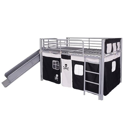 vidaXL Lit superposé avec escalier coulissant en acier noir 200x100 cm