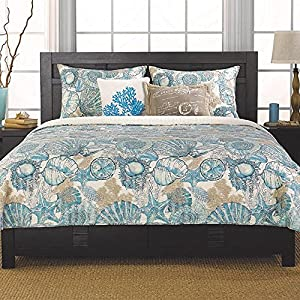 Brushed Ashore Beach House Coastal 3 Piece King Size Quilt Bedroom Set Coral Seashell Starfish Tropical Cotton! Perfect Bedding Collection for Your Beach House, Seaside Condo, or Nautical Themed Home. Bring the Seashore to Your Home!
