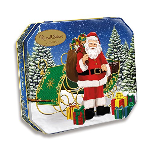 Russell Stover Holiday Tin assorted chocolates. Santa comes to town. 10 OZ (Russell Stover Assorted Creams compare prices)