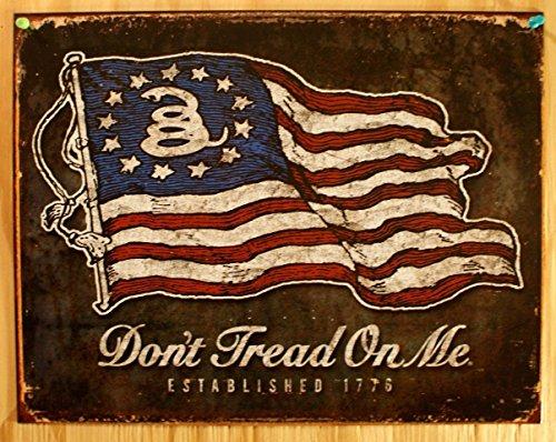 Don't Tread On Me - American Flag Distressed Retro Vintage Tin Sign