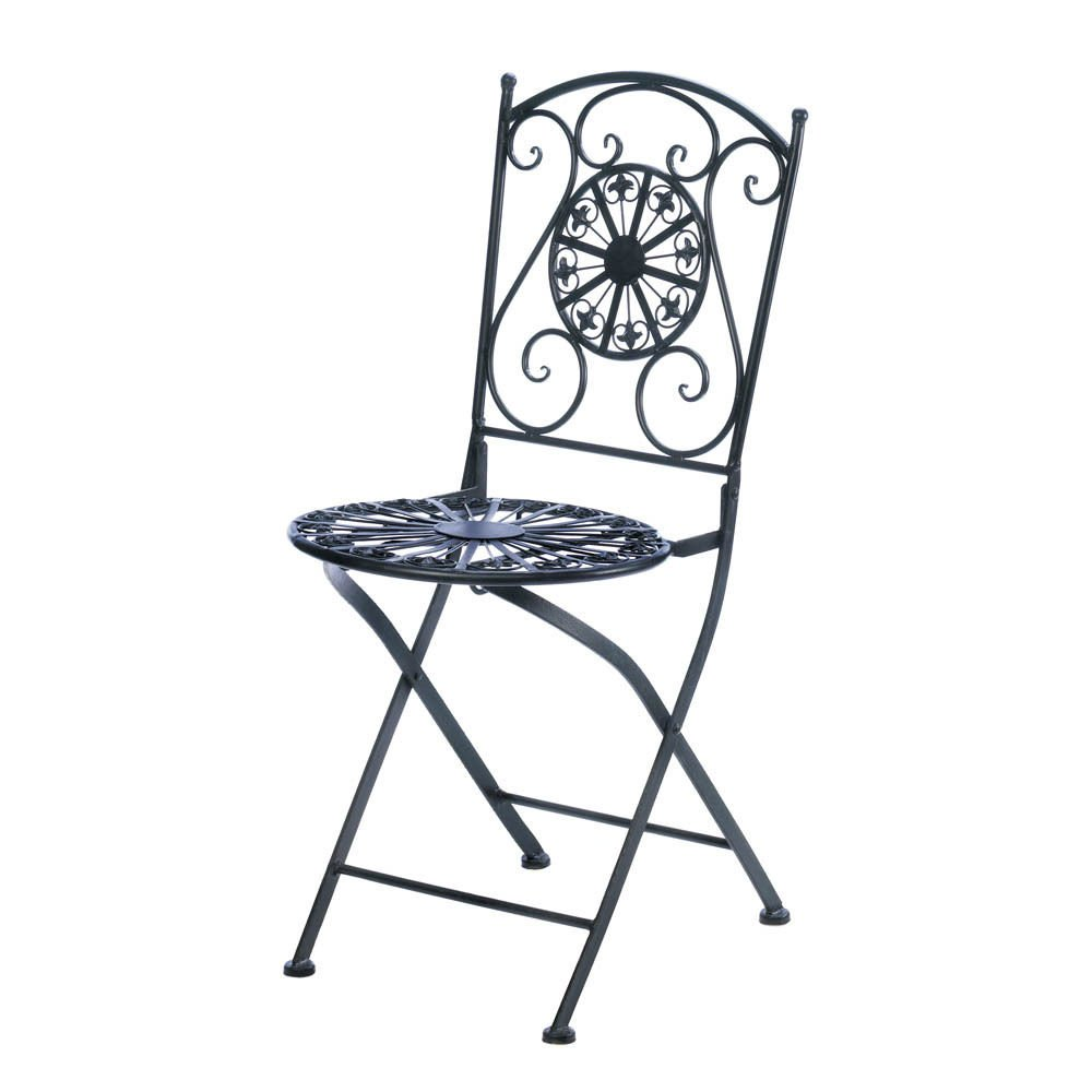 Globe House Products GHP Fleur-De-Lis Design Cast Iron Outdoor Patio Chair