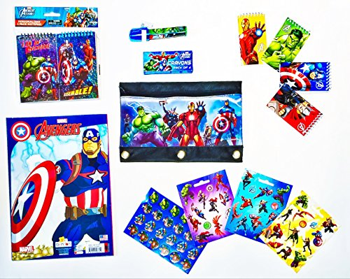 [Disney Marvel Avengers Bundle: Giant Jumbo Coloring and Activity Book, 6 Pack Notepads, Crayons Set of 4, 5-Piece Eraser, 3-Hole Plastic Pencil Pouch, Stickers Set of 62, Recyclable Tote Bag 79] (Make Your Own Superhero Costume Kit)