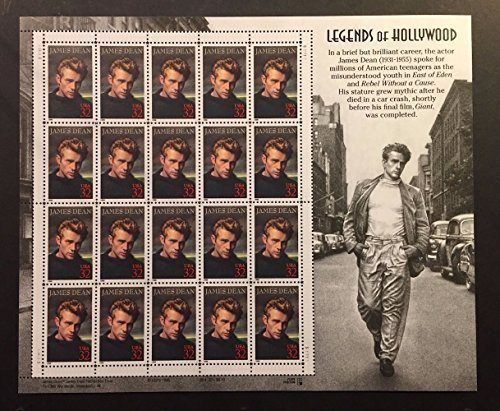 james-dean-legends-of-hollywood-full-sheet-of-20-x-32-cent-postage-stamps-usa-1996-scott-3082-by-usp