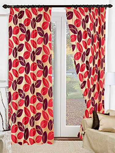 Cenizas Fancy Polyster Door Curtain 1 Pc Curtain – 84″X48″, – Red (CURT-N0009)