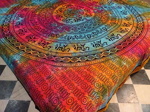 Jaipuri Art And Creations Queen Multi Tie Dye Indian Psychedelic Indian Elephant Mandala Tapestry Throw (Tie Dye Quilt compare prices)