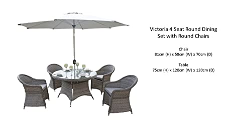 Maze Rattan Round 4 Seat Victoria Dining Set with 120 cm Table in a Weave and Matching Parasol - Mixed Grey