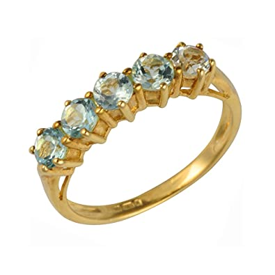 Ivy Gems 9ct Yellow Gold Blue Topaz Five Stone Half Eternity Ring