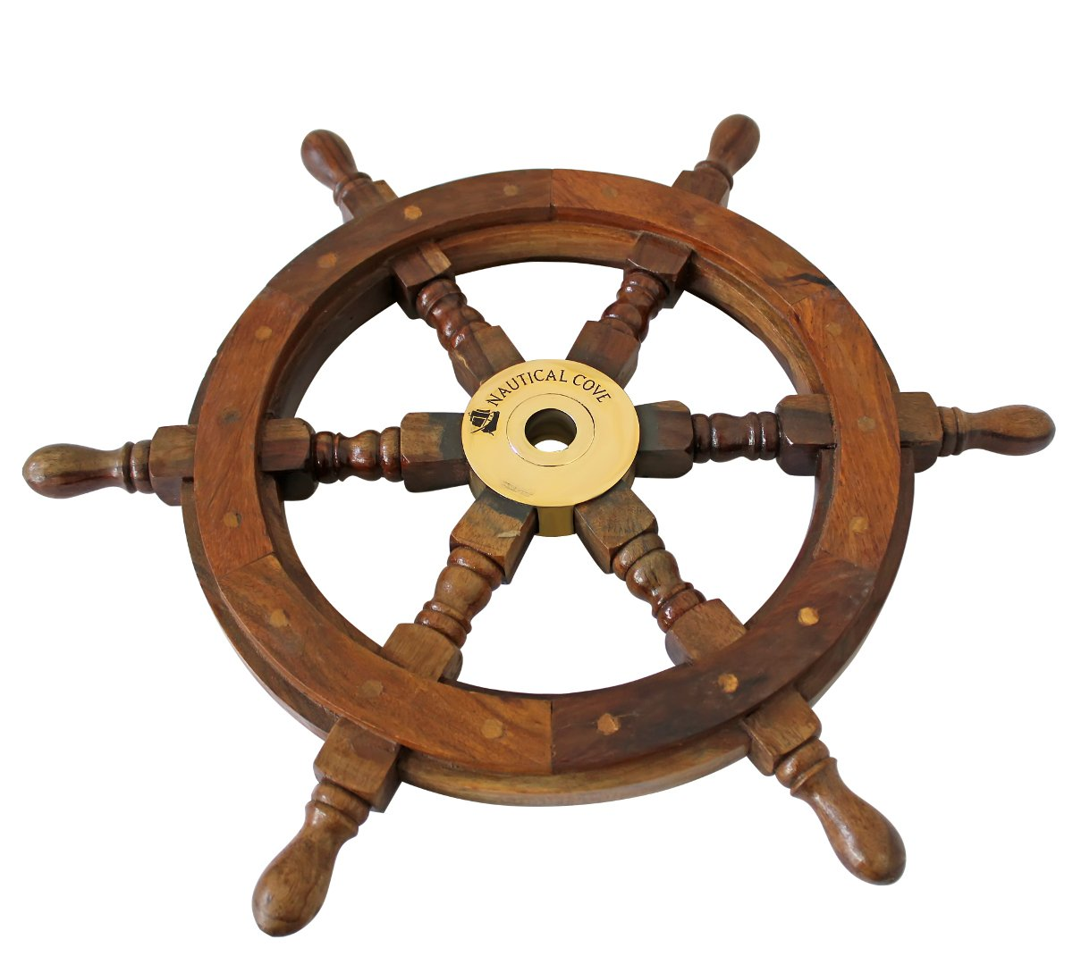 "Nautical Cove Wooden Ship Wheel 18"" Pirate Decor, Ships Wheel for Home, Boats, and Walls"