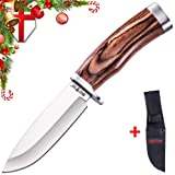 Grand Way Hunting Survival Fixed Blade Knife - Bushcraft Knife with Wood Handle for Hunting Hiking and Fishing - Fixed Blade Hunting Knife - 148109-1 (Color: WOOD 1)