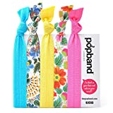 Popband Hawaii, Multi Pack of Turquoise, White, Yellow, & Pink Hair Bands / Hair Ties / Hair Elastics with Flower Print