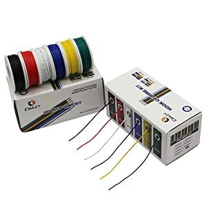 CBAZYTM Hook up Wire Kit (Stranded Wire Kit) 20 Gauge 6 Colors 19.6 feet Each Electrical Wire 20 AWG PVC Wire (Color: D-(red+blue+green+yellow+white+black), Tamaño: 20AWG)