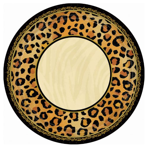 "Amscan Disposable Square Dessert Plates in Safari Chic Style Print (8 Pack), 7 x 7"", Black/Brown/Orange"