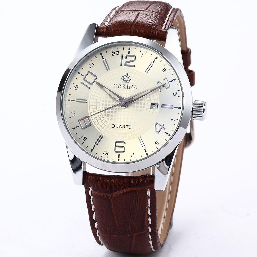 (オルキナ) Orkinaメンズボーイフレンドホワイトダイヤルレザー日付スポーツクォーツコーヒーレザー腕時計ORK056