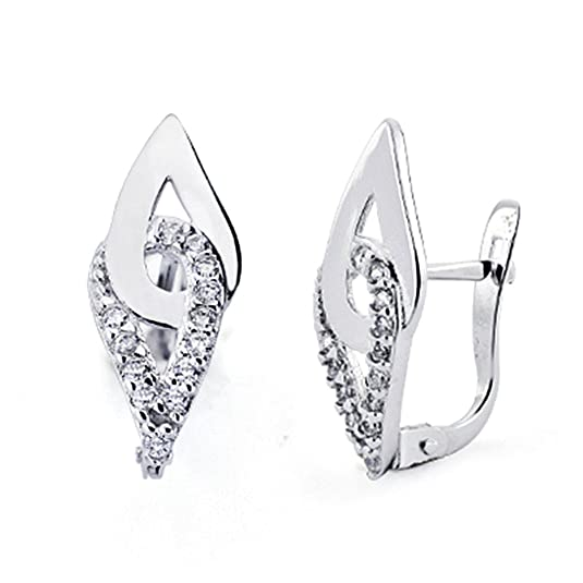 18k white gold cubic zirconia earrings 17mm. Leverback [7712]