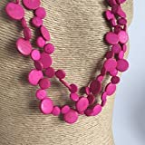 Fair Trade, Vivid Pink Natural Coconut Shell Natural Necklace