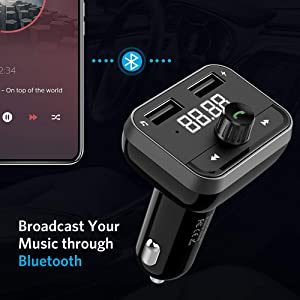 Nulaxy V4.2+EDR Bluetooth FM Transmitter for Car, Wireless FM Radio Adapter Connect 2 Devices Simultaneously Support 5V/2.5A USB Charge, Hands-Free Talking, USB Drive and Aux Output - KM32 (Color: Black)