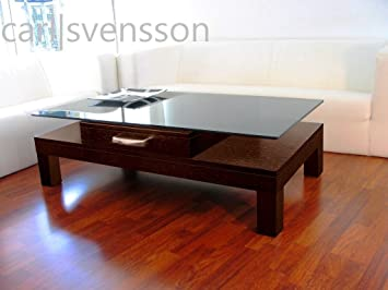 Design Couchtisch V-470H Walnuss / Wenge getöntes Glas Carl Svensson