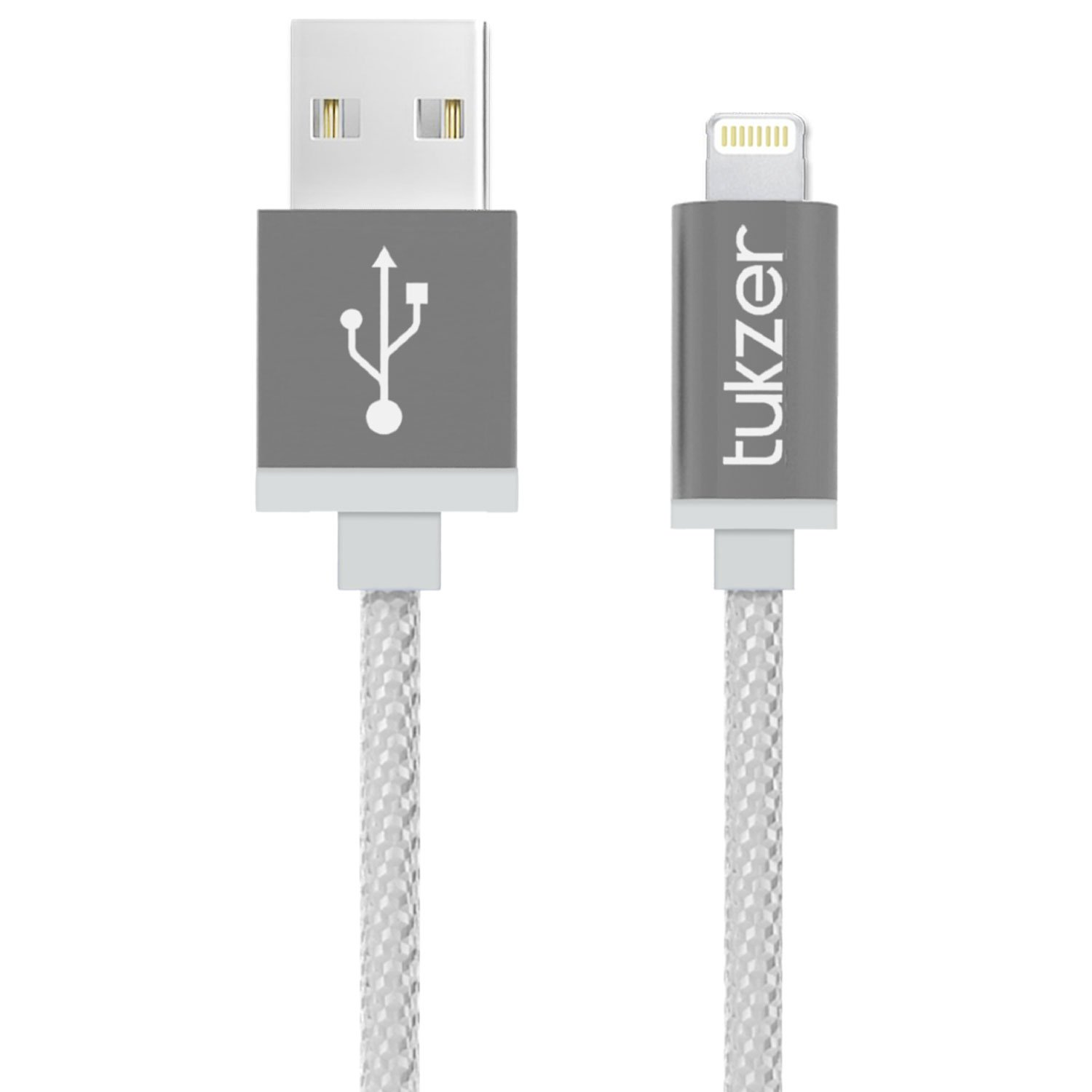 Tukzer (Apple MFI Certified) Nylon Braided 3.2ft/ 1m 8 Pin Lightning to USB Cable 2.4Amp Premium Fast Charging & Data Sync Cable (Gray)