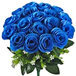 Gtidea Artificial Flower Bouquet 18 Heads Silk Roses Bridal Home Garden Office Dining Table Wedding Decor Blue