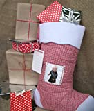 Oskar & Ellen Extra Large Christmas Stocking with Photo Pocket - Red
