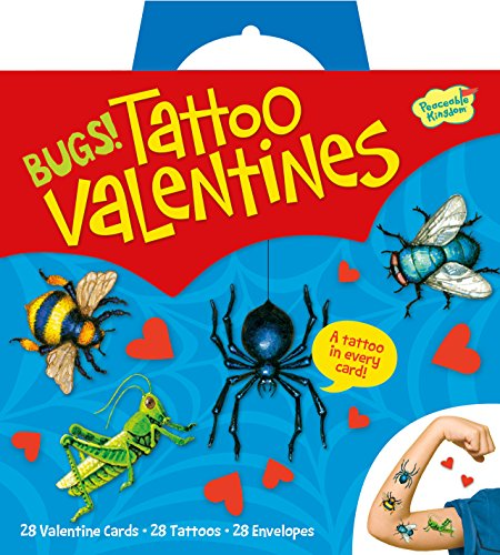 Lowest Prices! Peaceable Kingdom / Buggy Temporary Tattoo Super Valentine Card Pack