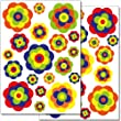 Wandkings WS-50048 Retro Blumen Wandsticker Set, 38-Aufkleber, 2 DIN A4 B�gen, Gesamtfl�che 60 x 20 cm
