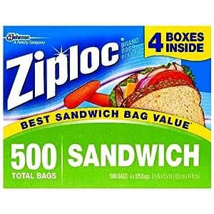Ziploc Sandwich Bags, 125 Count (Pack of 4)