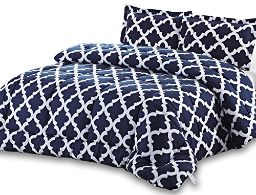 Why Choose Printed Comforter Set (Navy, King) with 2 Pillow Shams - Luxurious Soft Brushed Microfibe...